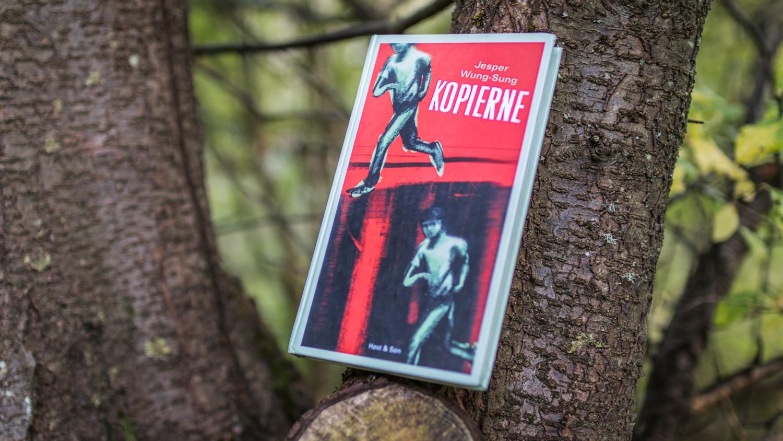 "The Danish book ""Kopierne"" in a tree."