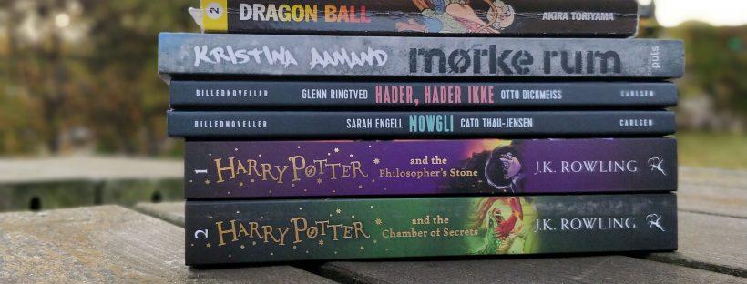 En bogstak med de seks bøger, jeg håber at læse i til Deweys Readathon efteråret 2018