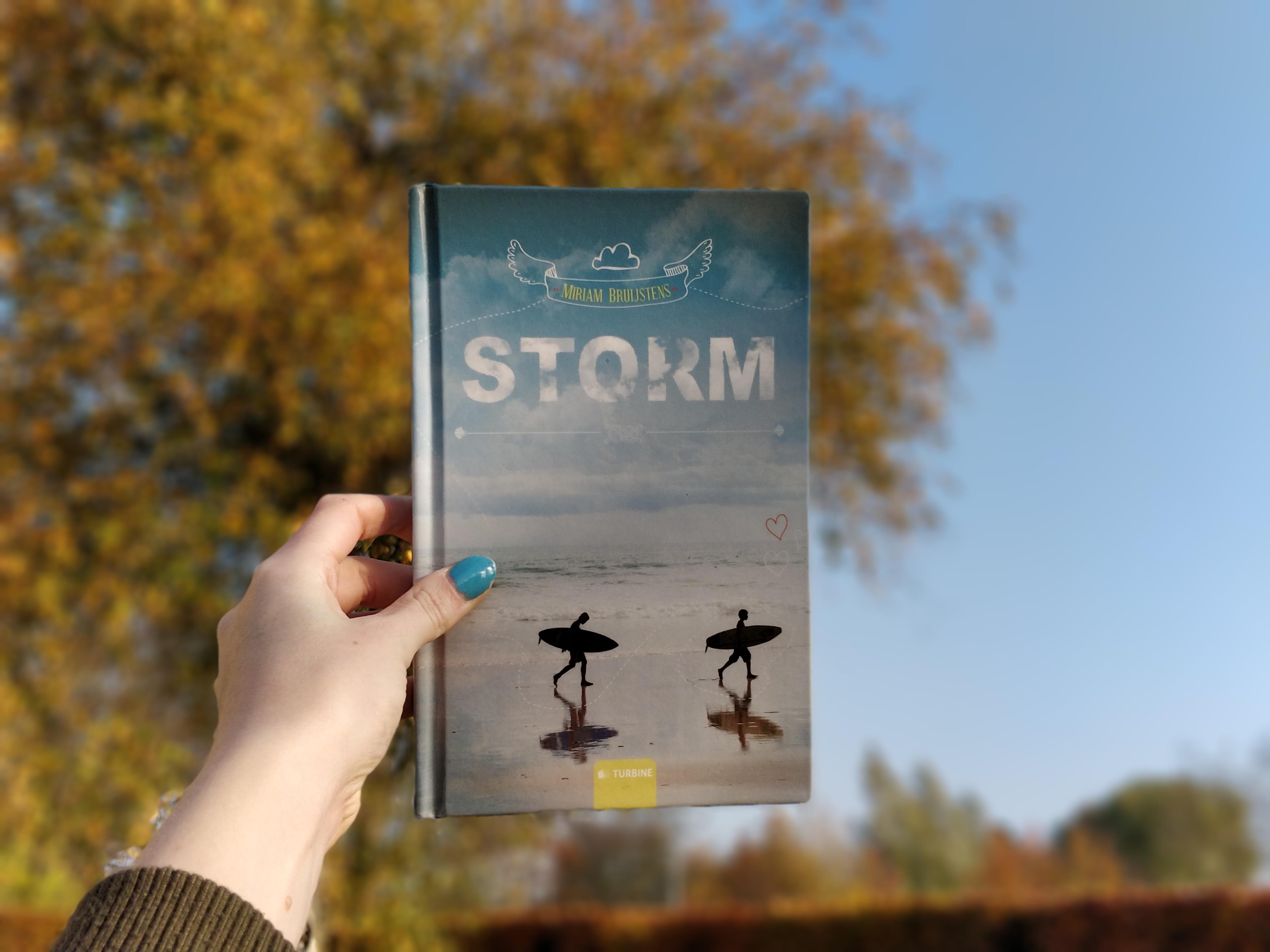 Bogen Storm af Miriam Bruijstens foran et træ, der er sløret.